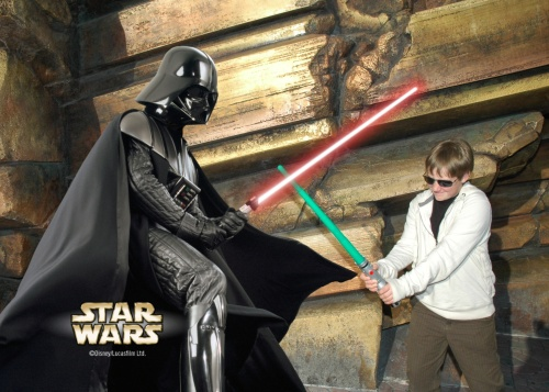 He's not as tall as Darth Vader... yet.