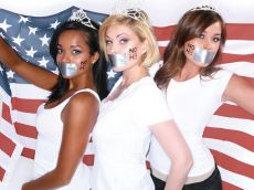 Raquel Beezley (right) takes a silent stand in support of same-sex marriage, along with Shanna Moakler (center), Miss California USA executive director, and Tamiko Nash (left), Miss USA 2006 first runner-up.