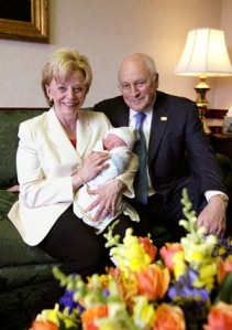 Lynne and Dick Cheney, the happy grandparents, with Mary and Heather's first child, Samuel David.